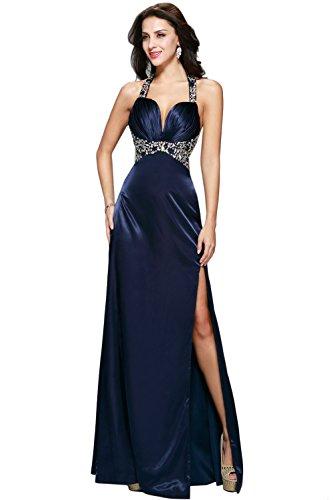 Plunge Halter Gown (Women's Halter Plunge High Slit A-line Formal Evening Dress Prom Gown Bridesmaid)