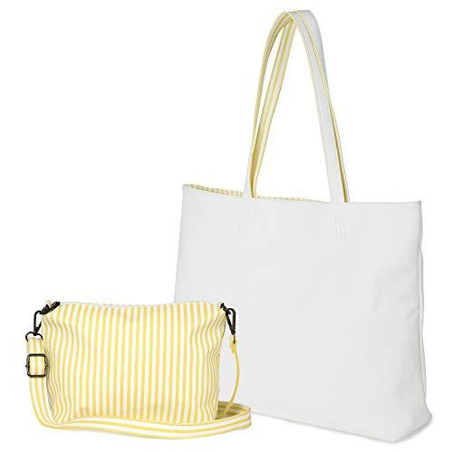 Women's Two Colors Shoulder Bags PU Leather Tote Top Handle Satchel Purse Set 2pcs - White Messenger
