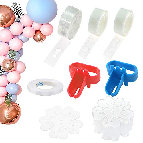 RUBFAC Balloon Arch Kit 214pcs, Balloon Decorating Strip Tap 16Ft, 200 Glue Dots, for Balloon Arch Garland, Balloon Arch Tape/Strip Decoration, 32 Feet Ribbon, 2 Balloon Tie Tools, 10 Flower Clips]()
