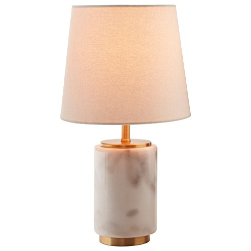 """41%2BFQS6dqJL - Rivet Modern Marble Mini Lamp With Bulb, 14"""" H, White Marble, Brass"""