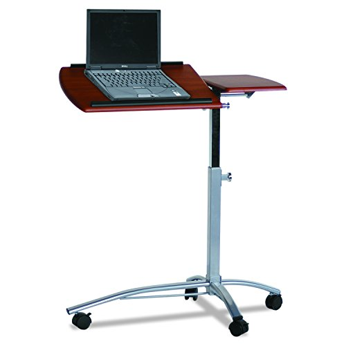 Mayline 950MEC SOHO Mobile Laptop Caddy with Dual Worksurface, Height Adjustable, Medium Cherry Tf/Metallic Gray Frame