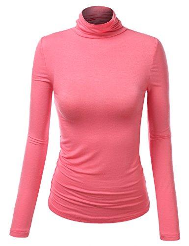 J.TOMSON Womens Thin Long Sleeve Turtleneck Shirt CORAL MEDIUM