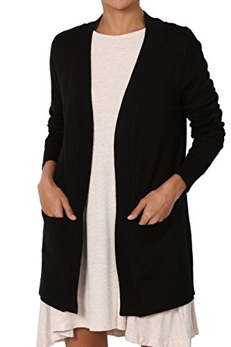 3 Open Pockets (TheMogan Women's Open Front Pockets Knit Sweater Cardigan Black L)