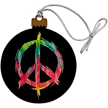 Hand Beaded 1960/'s Peace Sign Christmas Ornament