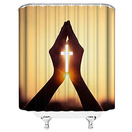 AMNYSF Christian Shower Curtain Religious Cross with Praying Hands Decor Yellow Fabric Bathroom Curtains,Waterproof Polyester with 12pcs Hooks 70x70 Inch ()