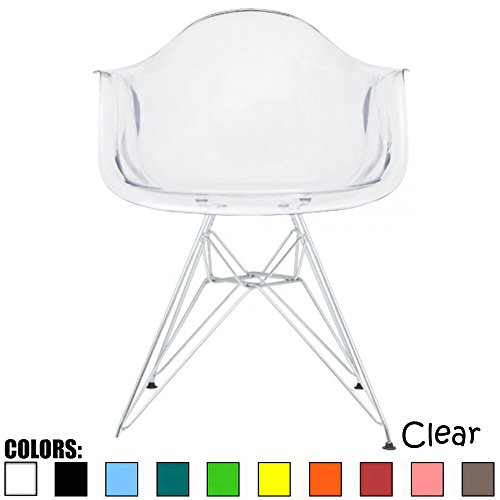 2xhome – Plastic Armchair with Eiffel Legs Dinning Chair Molded Plastic Wire Chair Base (DAR) Legs, Clear