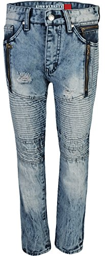 CDB Boys Slim Fit Moto Jeans With Rips and tears, Moto Bleach, Size 16'