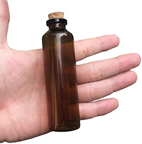 TAI DIAN 50units 50ml Amber Glass Vials with Cork Empty Brown Tiny Glass Jars Mini Glass Bottles Vials Jars Containers (50, 50ML)