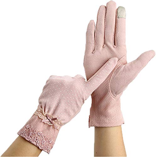 Women Screentouch Lightweight Sunblock Gloves Summer UV Protection Driving Cotton Gloves,Lace Style_Pink -