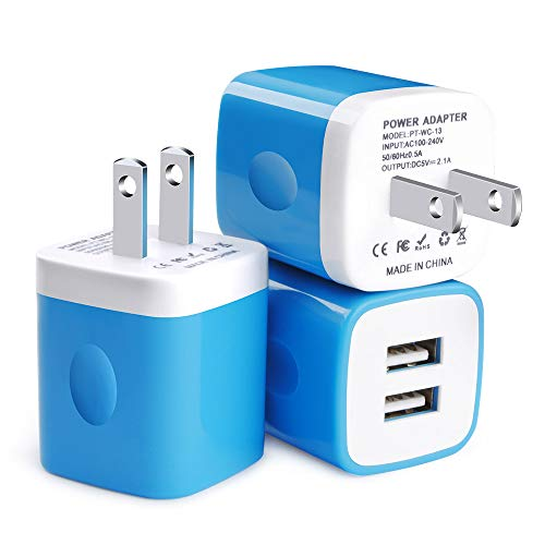 Wall Charger, Charging Cube, FiveBox 3Pack Dual Port 2.1A Wall Charger Base Brick Charging Block Plug Charger Box Compatible iPhone Xs Max/XR/X/8/7/6/6s, iPad, Samsung Galaxy S9 S8 S7 S6, Android, LG