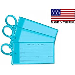 3 Sky Blue Luggage Tags - Made in USA