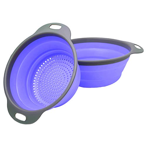 (Colander Set - 2 Collapsible Colanders (Strainers) Set By Comfify - Includes 2 Folding Silicone Strainers Sizes 8