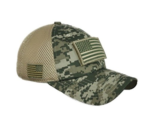 (90210 Wholesale USA American US Flag Baseball Cap Patch Trucker Tactical Army CAMO Hat Hunting (Digital Green Camo))
