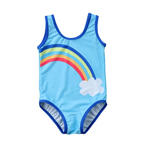 Rainbow Girls Swimsuit - MUNIMINI Toddler Baby Girls Rainbow Cloud Swimsuit Bathing Suit One Piece (4-5 Years, Blue)