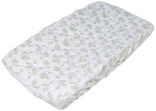 Lewis Quilted Organic Cotton Changing Pad Cover Radish Print 100% GOTS Certified Organic Cotton, Willow ()