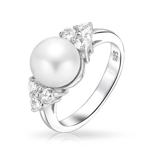 925 Sterling Silver CZ Cluster Button Freshwater Cultured Pearl Ring (Pearl Cluster Rhodium Silver Ring)