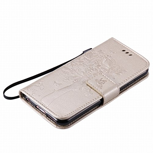 Custodia Apple IPhone 6 / IPhone 6s Cover Case, Ougger Alberi Gatto Printing Portafoglio PU Pelle Magnetico Stand Morbido Silicone Flip Bumper Protettivo Gomma Shell Borsa Custodie con Slot per Schede