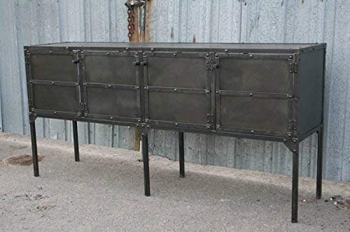 Reclaimed Wood and Steel Buffet Modern TV Stand Vintage Industrial Furniture Rustic. Industrial Steel Media Console Modern Credenza