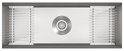 KOHLER Prolific 44 inch Extra Large Workstation Stainless Steel Single Bowl Kitchen Sink with included Accessories, 10 inches deep, 18 gauge, Undermount installation K-23652-NA ()