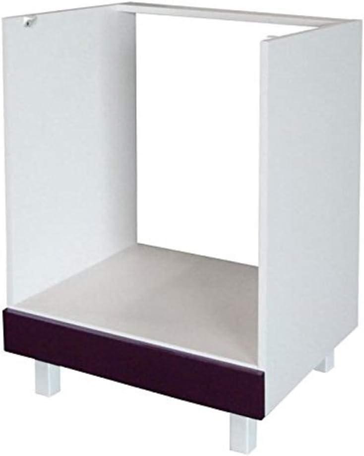 Berlenus CF6B - Mueble bajo de Cocina para el Horno (60 cm), Color Berenjena Brillante