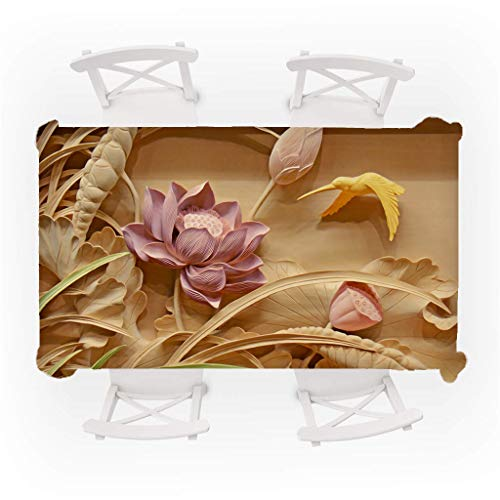 Iusun Rectangle Tablecloth 55x 31.5 Inch. Primeval 3D Flower Dinning Picnic Tea Table Cover Toppers Decorative for Outdoor and Indoor Use (C) (Outdoor 8 Round Table Dining For)