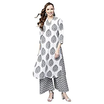 Tissu Women's Cotton Printed Kurta With Palazzo Set