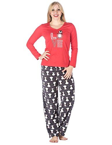 Conjunto Pijama con Pantalón Micro Polar para Mujer Joven - Varios Motivos Pingüino - Rojo
