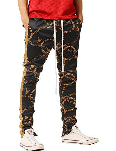 Stripe Black Shiny - Ma Croix Premium Mens Gold Chain Print Track Pants with Side Leather Stripe (2X-Large, vw34_Black)