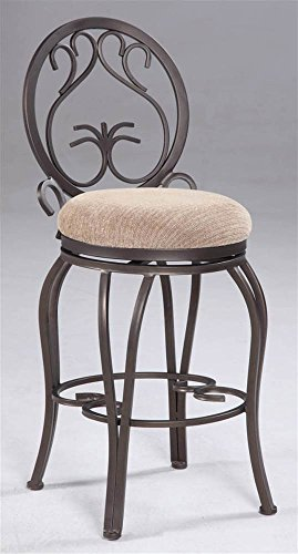 Chintaly Imports 0745 Memory Return Swivel Counter Stool, 26-Inch, Dark Champagne/Taupe Suede