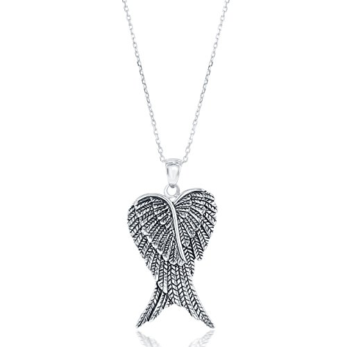 Sterling Silver Double Angel Wings Heart Pendant with 18