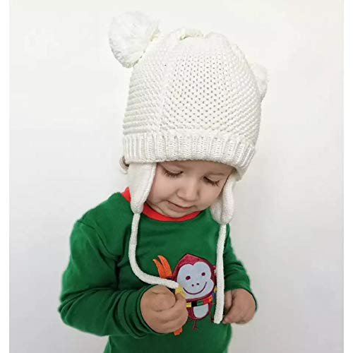 fa0d25ed5e27 Amazon.com  Ryulife Baby Hat 6 to 18 Month Girls Boys Infant Newborn Warm  Winter Kint Beanie Toddler Ear Flaps Hat White  Clothing