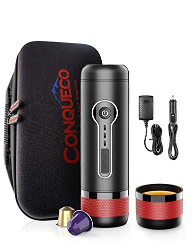 41%2BFUB4dSHL CONQUECO Tragbare Espressomaschine reise Siebtraeger Automatische Kaffeekapselmaschine Ein-Knopf-Bedienung BPA-frei für…