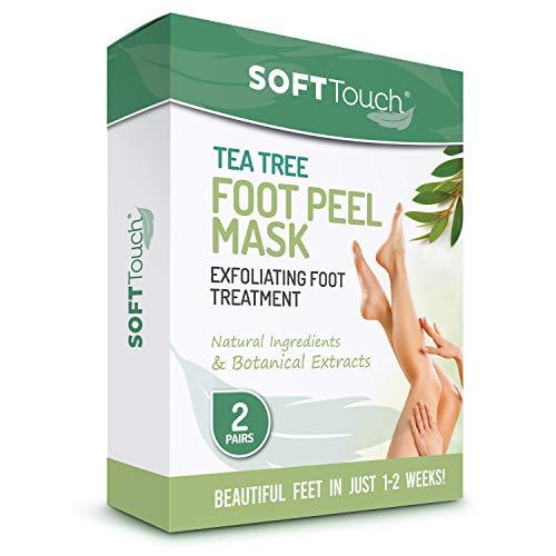 🥇 Tea Tree Foot Peel Mask – 2 Pack of Peeling Booties – Foot Care Exfoliating Treatment Repairs Cracked Heels