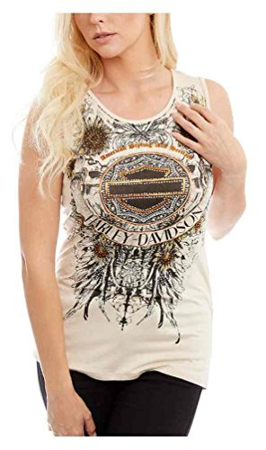 Harley Davidson Womens Embellished Sleeveless Natural