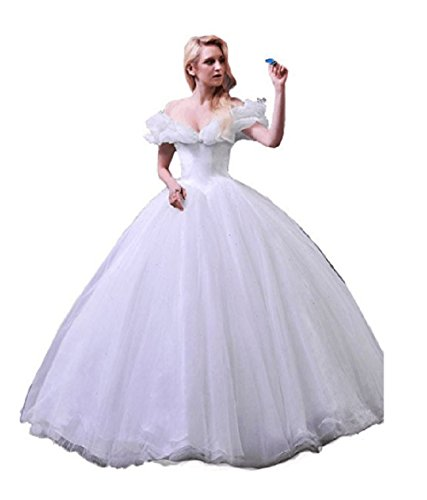 (Chupeng Women's Princess Costume Butterfly Off Shoulder Cinderella Prom Gown Wedding Dresses Evening Gown Quinceanera Dress White)