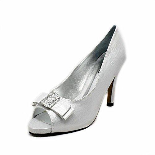 De Satin Toe Carré Peep Orteil Haut Strass Chaussures Judiciaires Silver Talon Black Avec Arc IEqdq