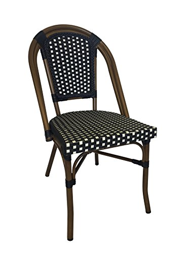Stackable Bistro (Table in a Bag CBCBW Faux Bamboo All-Weather Wicker Stackable Bistro Chair, Black with White Accents)
