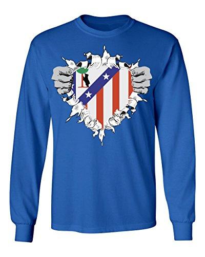 SMARTZONE Club Atletico de Madrid Super Hero Logo Soccer Football Futbol Men's Long Sleeve T Shirt (Royal,4XL)