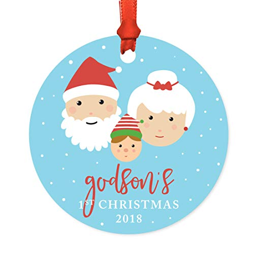 Andaz Press Family Metal Christmas Ornament, Godson's 1st Christmas 2018, Santa and Mrs. Claus with Elf, 1-Pack, Includes Ribbon and Gift Bag -  APP12155