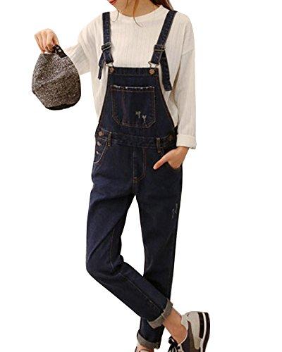 Denim Mujer Pantalones Mono Rotos Vaqueros Petos Elásticos Vaqueros Jeans Overalls Boyfriend Azul Rasgados n4aYSx84