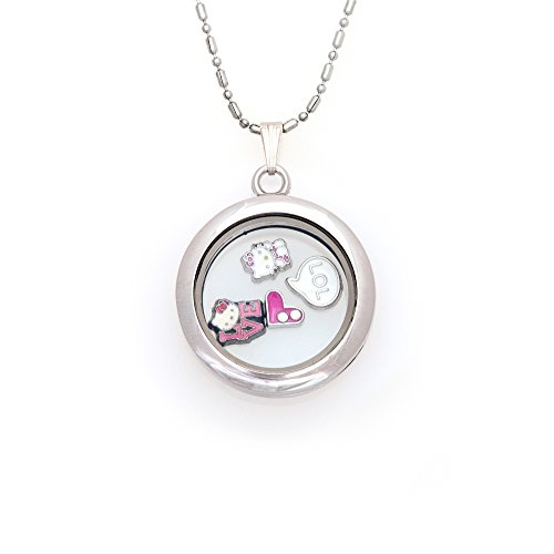 30mm Round Magnetic Floating Locket Necklace with Charms (Hello Kitty)
