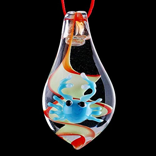 Lampwork Leaf - Kingzer Crab ON Leaf LAMPWORK Light Yellow Glass Pendant jpd173