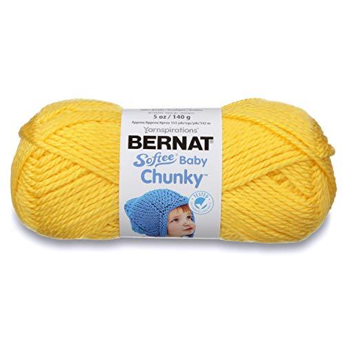 Bernat Softee Baby Chunky Yarn, Solid, 5 oz, Gauge 5 Bulky Chunky, Buttercup (Super Bulky Yellow Yarn)