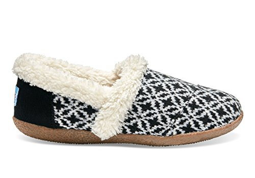 TOMS Slippers Black White Fair Isle 10008880 Womens 5