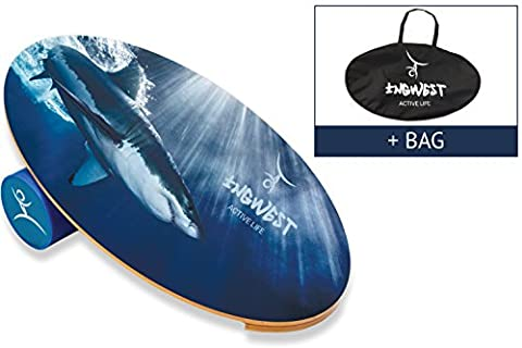 InGwest Active Life. Wooden Balance Board Trainer with Roller. 15.7x27.5 in. Balance Board Training System for snowboard, surf, ski, skateboard, dance. Workout Board for Balancing (Shark + - Wooden Balance Board