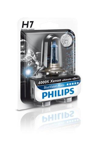 Philips 12972BVUBW Blue Vision Moto H7 Motorrad-Scheinwerferlampe, 1er Blister