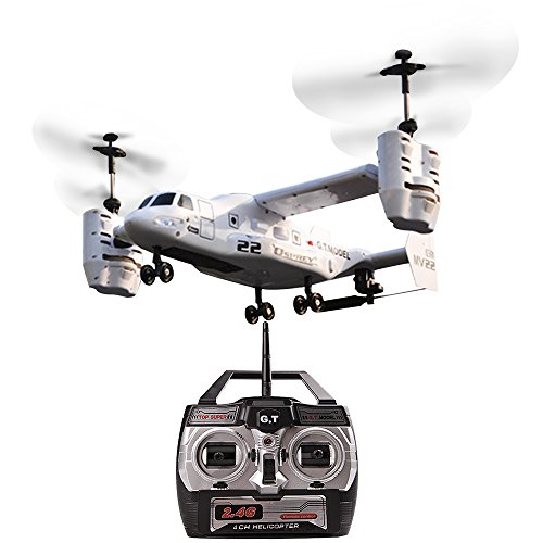 YOUDirect Electric RTF Remote Control UAV Aircraft – 2.4GHZ 4.5CH Dual Axis RC Airplane with Double Gyro & Headlamp for Cool Boy's/Kids' Toy (White)