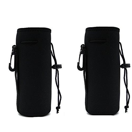 ALLENLIFE Water Bottle Carrier Bag Pouch Cover, Insulated Neoprene Water Bottle Holder - Great for Stainless Steel, Glass, or Plastic Bottles (BLACK 2PACK) ()