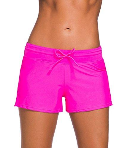 Vanbuy Women's Swimsuit Bottom Side Split Boy Shorts With Adjustable Drawstring 41977-Rose-M (Boyshorts Pink)