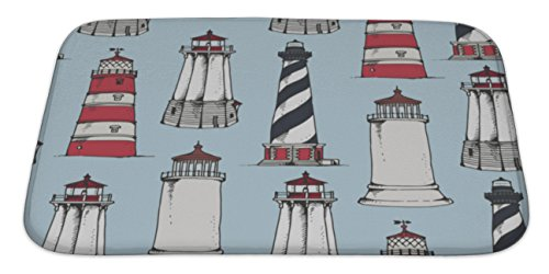 Gear New Bath Rug Mat No Slip Microfiber Memory Foam, Lighthouses Pattern, 34x21 -